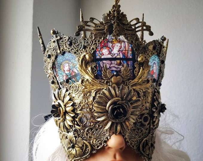 Blind mask, church, stained glass, Cathedral headpiece, gothic headpiece, gothic crown, goth mask, medusa, fantasy mask / Made to order