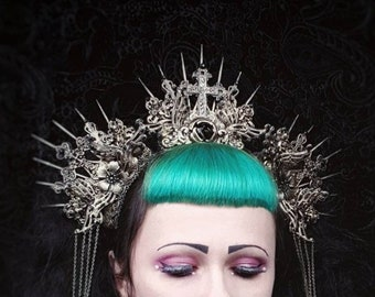 "Halo Headpiece ""Holy Crown"", goth crown, gothic crown, Cathedral Headpiece, Angel crown, available in different colors and styles"