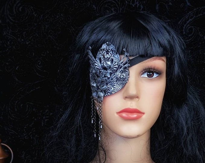 Gargoyle Eye Patch, totally blind, blind mask, Augenklappe, vampire mask, gothic headpiece, goth crown, cosplay,  Made to Order