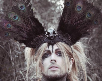 SALE/Peacock cat headpiece in copper black, unique Paganheadpiece, large peacock feather headdress with a cat skull (resin)