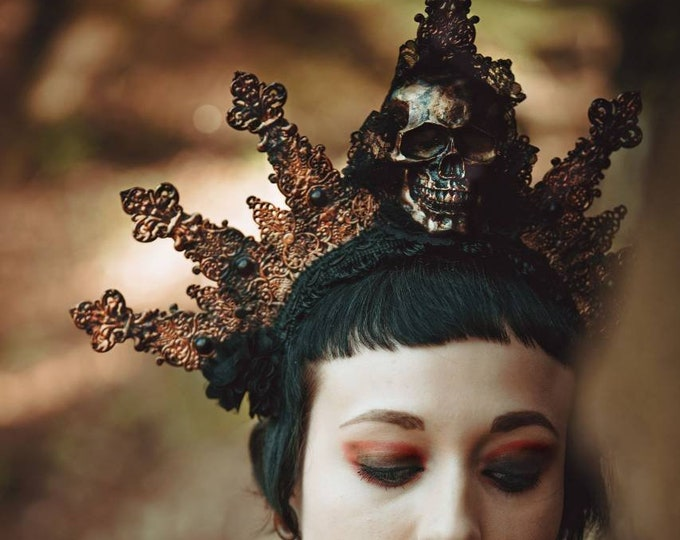 Ready to ship, burlesque, goth crown, skull crown, gothic headpiece, medusa costume, fantasy, cosplay, goth halo