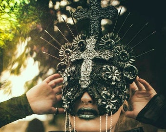 Cruxified Set of Holy gothic cross halo crown headpiece and blind mask, Gothic Cross Halo Crown and Blind Maske/MADE TO ORDER