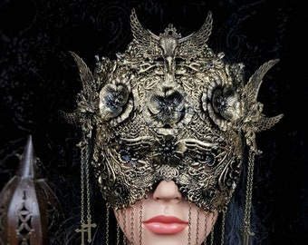 Holy crow, blind mask, fantasy mask, ravenskull, gothic mask,blind mask MADE TO ORDER