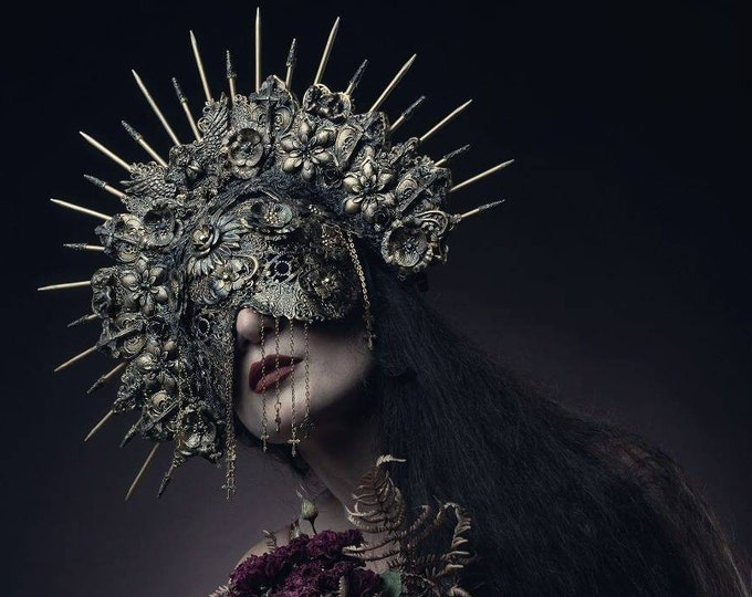 Featured listing image: Gothic headpiece, Set of Halo headpiece & blind mask, set of headdress + blind mask in antique look, different colors/MADE TO ORDER