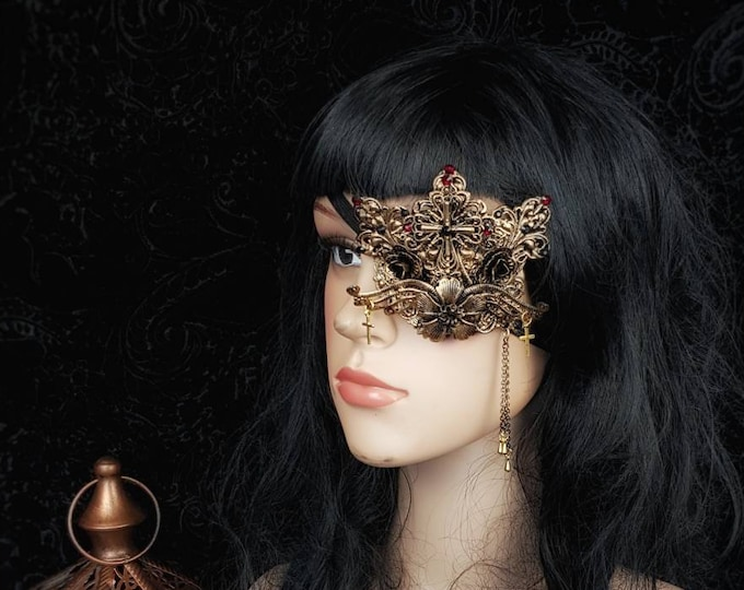 Angel Cross Eye Patch, totally blind, gothic headpiece, goth crown, fantasy costume, cosplay, gothic crown, Made to Order