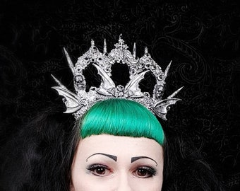 "Gothic Crown ""Vampire castle"" in different colors available/Goth crown, gothic headpiece, bat crown, bat headpiece, cathedral headpiece"