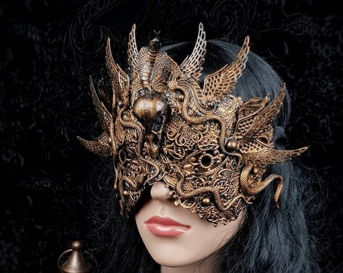 "Blind mask ""Snake/ Phoenix Warrior"" , Medusa Mask, Medusa Costume, fantasy mask, gothic headpiece, cleopatra, MADE TO ORDER"