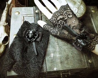Gothic skull cuffs, Black lace arm tulips/MADE TO ORDER