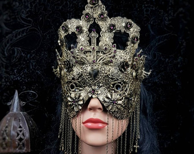 """Blind mask """"Queen of hearts"""", kathedrale, goth crown, church mask, gothic headpiece, medusa costume,  MADE TO ORDER"""