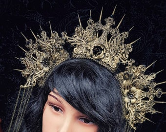 "Halo Headpiece ""Holy Crown"", goth crown, gothic crown, Angel crown, available in different colors and styles"