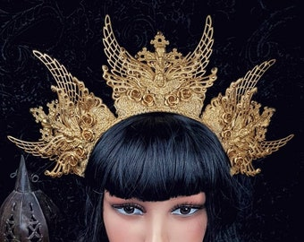 "Halo Headpiece ""Holy Crow"" Crown, Holy Crow Headdress, available in different colors/ MADE TO ORDER"