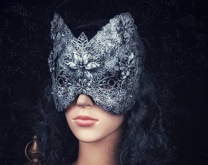 """Blind mask, cat mask """"flower"""", fantasy mask, gothic headpiece, gothic crown, medusa, Cosplay, metal mask, Made to order"""