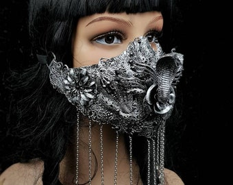 Cleopatra mask, cobra jaw mask, mouth mask, medusa costume, gothic mask, fantasy, cosplay, snake mask, different colors available