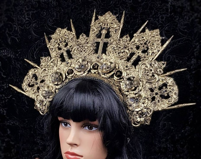 Featured listing image: Cathedral headpiece,gothic headpiece, church crown, religious headpiece,gothic crown, in different colors available
