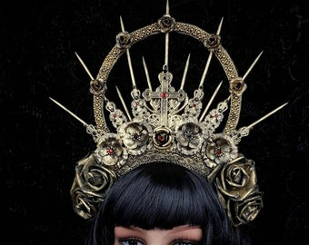 Crucified, gothic headpiece, gothic crown, religious headpiece, goth crown, halo headpiece, available in different colors/ Made to order