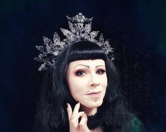 "Headpiece ""Cernunnos Deer Crown,"" Halo with delicate Elements and crystal En/MADE TO ORDER"