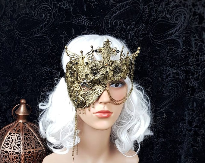 """Blind mask """" cathedral """", half mask, gothic crown, religious, gothic headpiece, fantasy mask, different colors available/ MADE TO ORDER"""