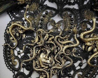 Head of medusa collar, snake collar, medusa costume, fantasy costume, cleopatra, different colors available