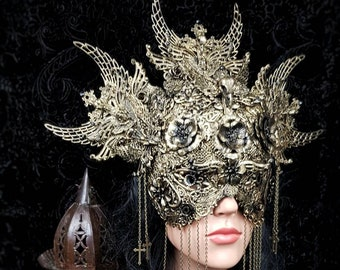 "Set ""Holy Crow"", halo headpiece, blind mask, gothic headpiece, fantasy mask, goth crown, gothic crown, different colors/MADE TO ORDER"