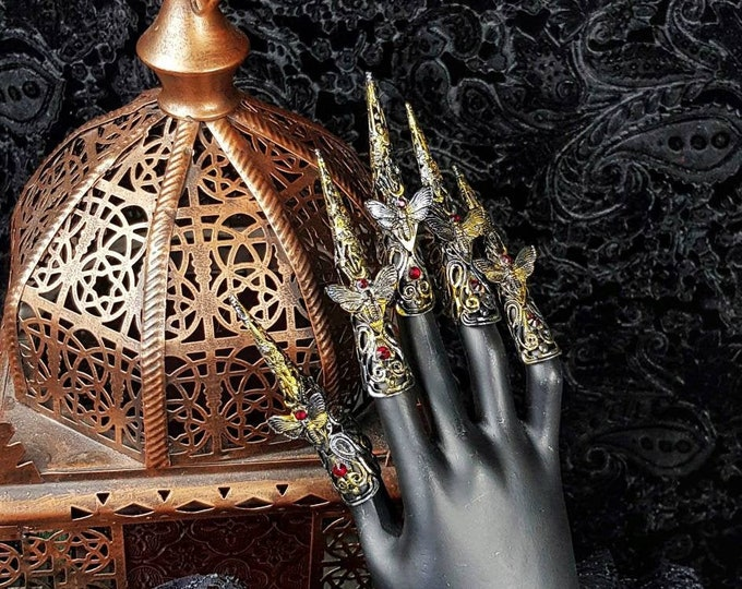 """5 Finger claws"""" Death Moth """", metal claws, medusa costume, pagan, vampire, cosplay, gothic crown, goth headpiece, blind mask / Made to order"""