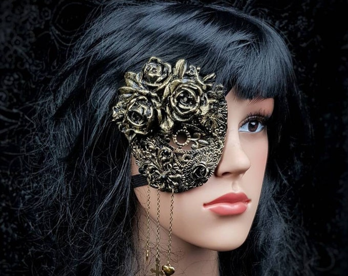 Roses eye patch, blind mask, gothic crown, Augenklappe, fantasy mask, gothic headpiece, goth crown, medusa costume/ Made to order