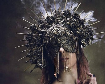 Holy Angel Set, Halo headpiece & metal blindmask, set of headdress + blind mask in antique look, different colors/MADE TO ORDER