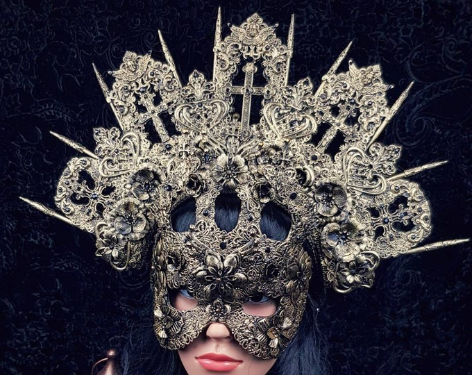 Featured listing image: Cathedral Set of Halo Headpiece and Mask, blind mask, Church Headpiece, Cathedral mask, Gothic Crown different colors