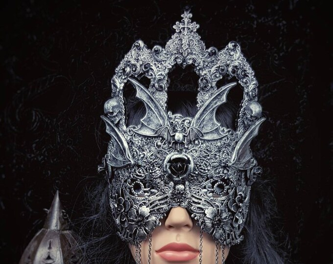 "Blind mask ""Vampire castle"",vampire mask, gothic crown, bat mask, gothic headpiece, fantasy mask, medusa costume, kathedrale / MADE TO ORDER"