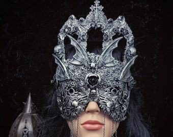 "Blind mask ""Vampire castle"",vampire mask, gothic crown, bat mask, gothic headpiece, fantasy mask, different colors available/ MADE TO ORDER"