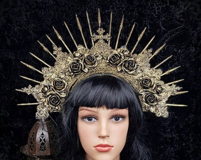 """Gothic headpiece """" Roses """", gothic crown, holy crown, goth crown, gothic headpiece, medusa costume, blind mask / MADE TO ORDER"""