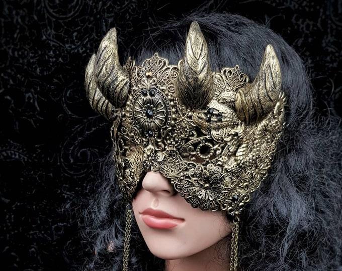 "Blind mask "" Hades "", horns mask, demon, dragon mask, Devil mask, medusa costume, gothic crown, Goth mask, gothic headpiece / MADE TO ORDER"