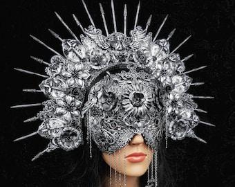 Gothic headpiece, Set of Halo headpiece & blind mask, Set aus Kopfschmuck + blinder Maske im Antiklook, different colours/MADE TO ORDER