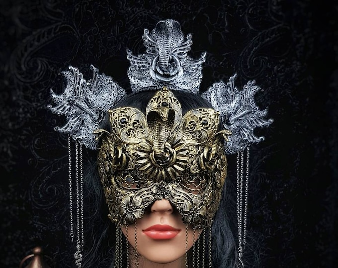 Set Cleopatra mask, blind mask &  Cleopatra Headpiece, Medusa costume, gothic headpiece, goth crown, gothic crown, cobra / Made to order