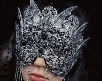 """Blind mask """"Vampire bat"""",vampire mask, gothic crown, bat mask, gothic headpiece, fantasy mask, different colors available/ MADE TO ORDER"""