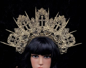 Cathedral headpiece, Angel crown, church crown, religious headpiece,gothic crown, gothic headpiece, in different colors available