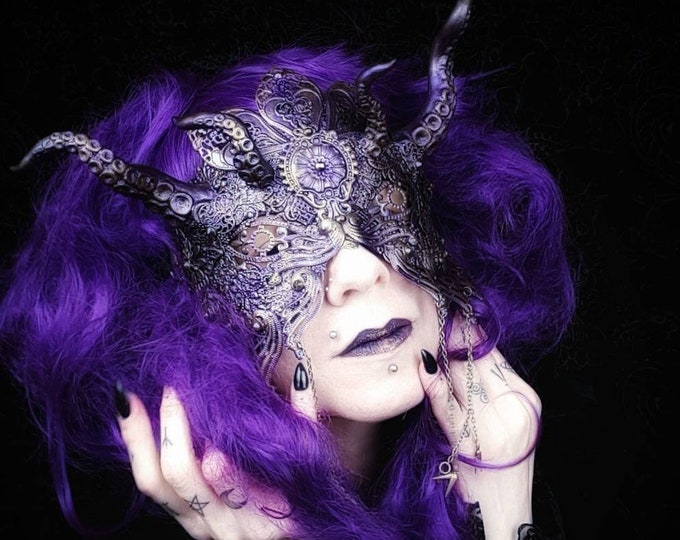 Cthulhu Blind mask, fantasy mask, gothic headpiece, tentacle mask, mermaid, blindmask, medusa costume, different  colors,  MADE TO ORDER