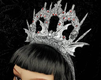 "Gothic Crown ""Vampire castle"" in different colours available/Goth crown, gothic headpiece, bat crown, bat headpiece, cathedral headpiece"