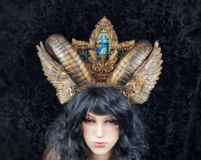 """Horns Headpiece """" Lucifer """", stained glass,gothic crown, gothic headpiece, cathedral headpiece, goth crown, blind mask /MADE TO ORDER"""