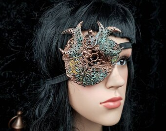 """Blind mask, Eye Patch """"Hexasylum"""", Pentagram, Gothic eyepatch, eye patch, fantasy mask, different colors available, Antique look"""