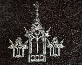 Vampire Church wall decoration, 3 windows, goth home décor, gothic, vampire, macabre art, bats decoration, gothic headpiece / made to order