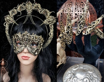 Set No.2 Medusa halo, mask & finger claws, medusa costume, gothic headpiece, snakes halo, classic or blind mask/ Made to order