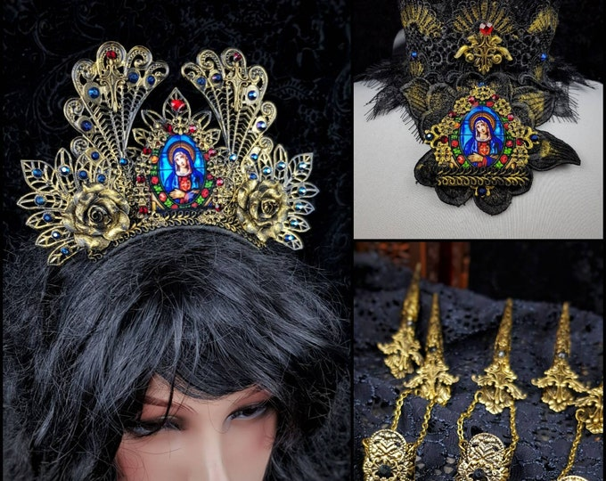 I.Set Madonna Cathedral crown, chocker & 5 Finger clawsgothic headpiece, goth crown, blind mask, stain glass, religious crown /Made to order