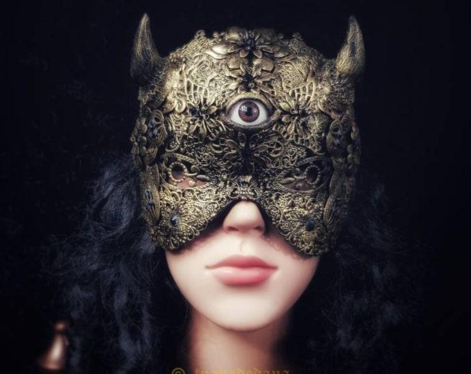 Eye of the devil, horns blind mask, demon mask, gothic headpiece, Teufel Maske, gothic crown,medusa costume, devil mask / MADE TO ORDER