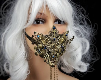 READY TO SHIP / Angel Jaw mask, mouth mask, mouth patch, gothic mask, gothic headpiece, blind mask, baroque mask, goth crown, gothic