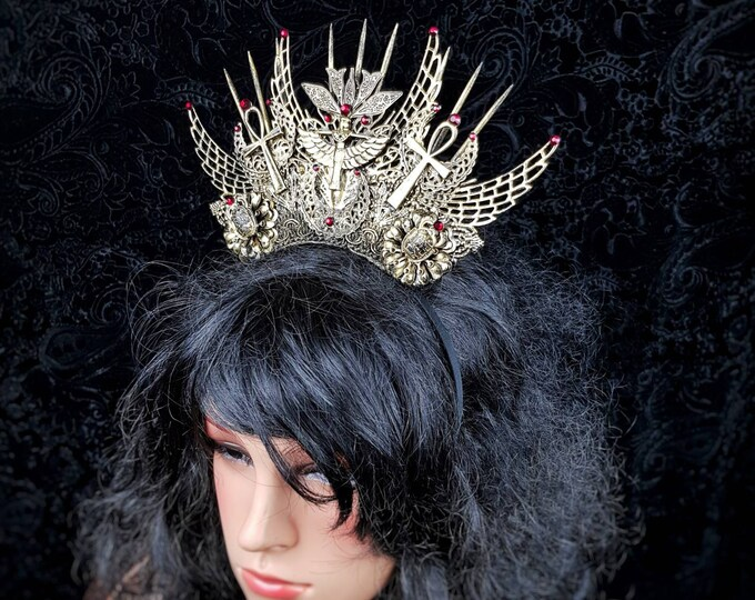 "Crown "" Isis "", Pharao, snake crown, Cleopatra Crown, Medusa Costume,  pagan, gothic headpiece, goth crown,  blind mask /Made to Order"
