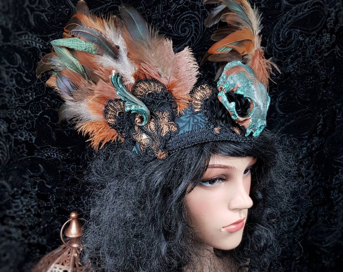 """Ready to ship / Pagan Headpiece """"Freya"""" with feathers, gothic headpiece, fantasy costume, medusa costume, viking, goth crown"""