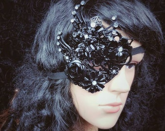 Ready to ship, Goth wings, eye patch for the right eye, fantasy mask, eye patch, gothic mask