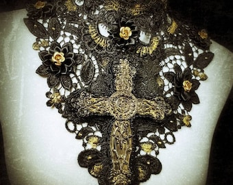"The golden black ""Holy Gothic cross"" collar with roses and chain lace collar with a large cross, roses & necklace/MADE TO ORDER"