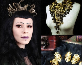 Ready to ship, Set of Medusa Crystal Crown, Medusa lace collar and golden fingerclaws/Medusa Crown & matching collar and metal claws