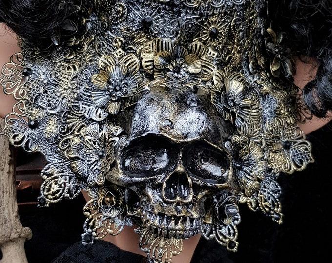 "Gothic collar, Chest armor ""King of Skull"" metal collar, Metallkragen mit Totenschädel, goth headpiece , Antique look/ Made to order"
